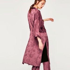 ZARA Shimmery Jacquard Floral Kimono Robe Medium